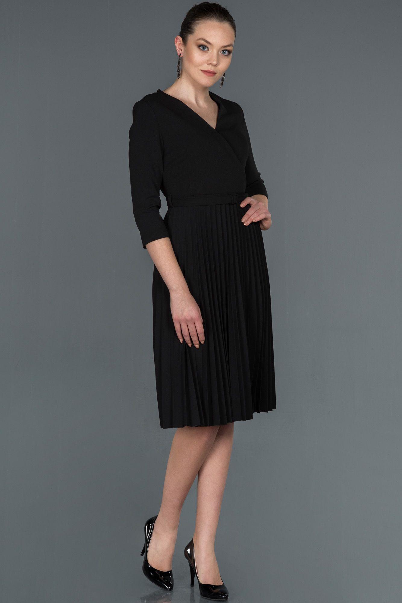 Siyah Kruvaze Yaka Ates Pile Elbise Abk748 2020 Aksamustu Giysileri Elbise Midi Elbise
