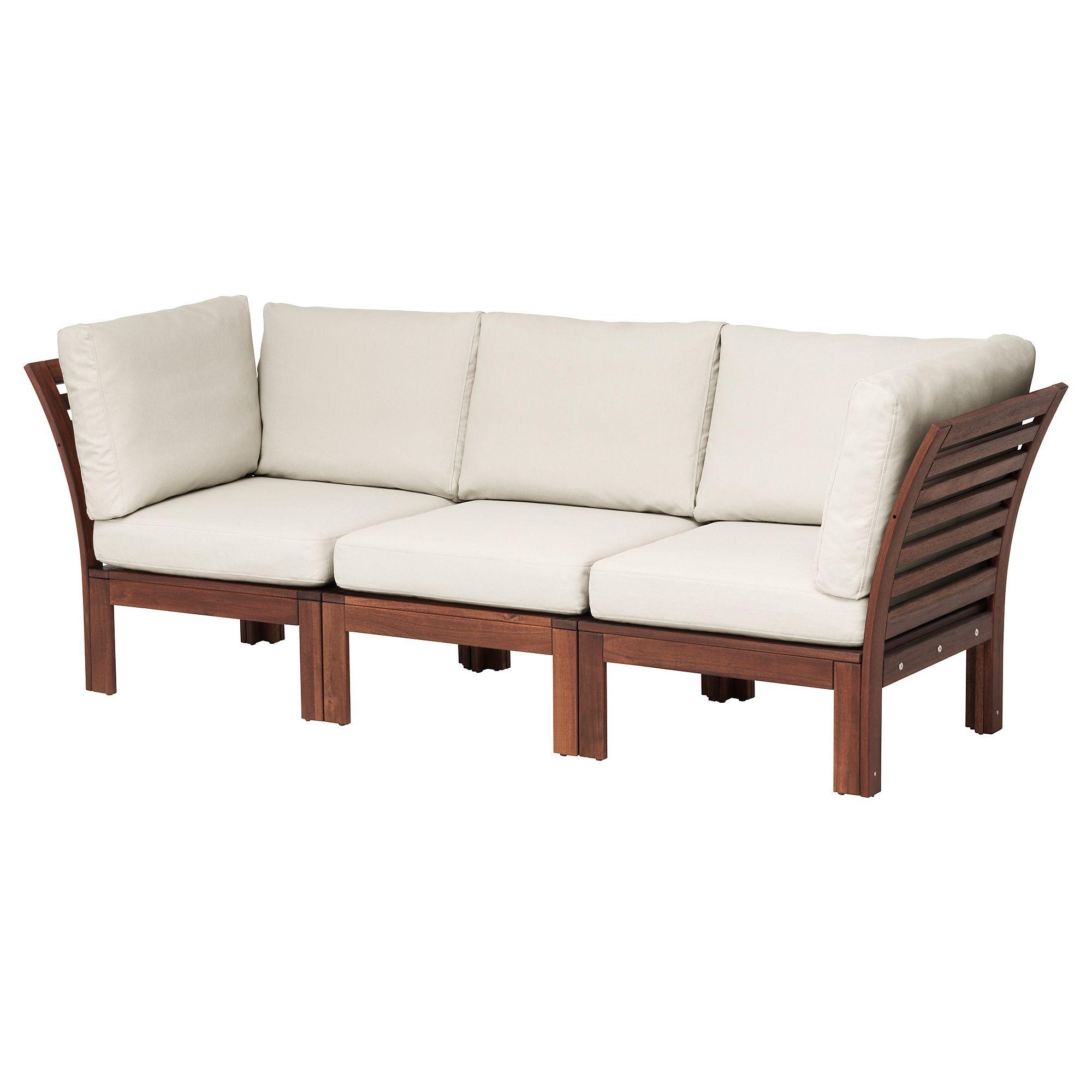 Applaro 3 Seat Modular Sofa Outdoor Brown Stained Froson Duvholmen Beige Canape Modulaire Mobilier De Salon Et Mobilier Jardin