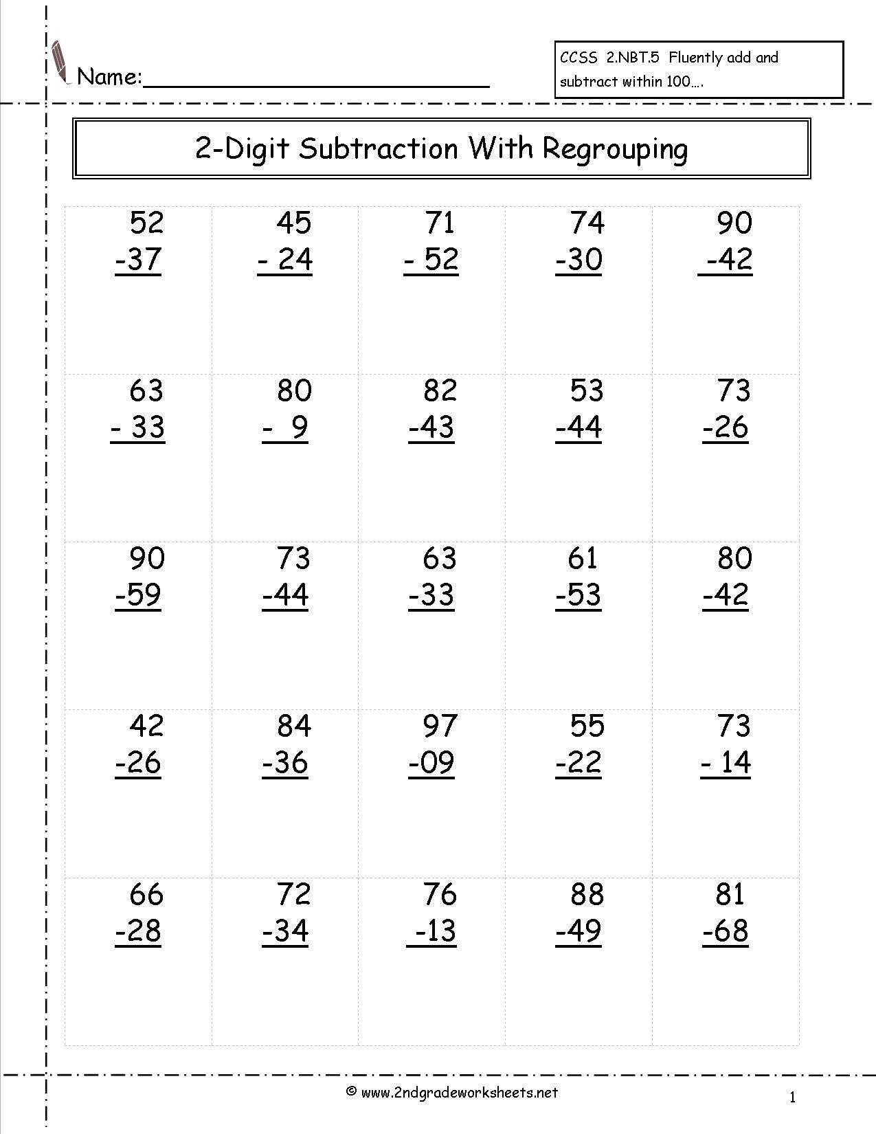4 Free Math Worksheets Second Grade 2 Addition Adding 2