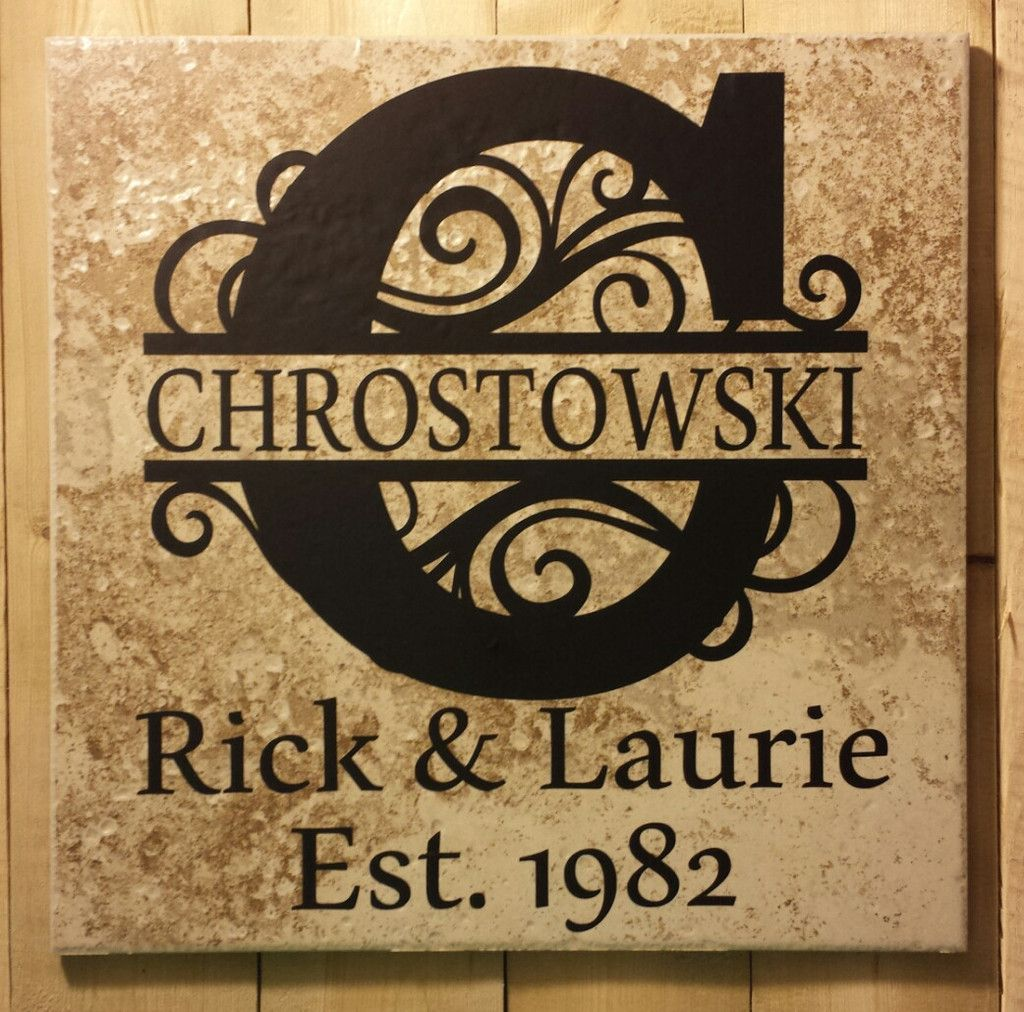 12 X 12 Split Flourish Letter Name And Established Date Ceramic Tile Vinyl Lettering Projects Tile Projects Tile Crafts