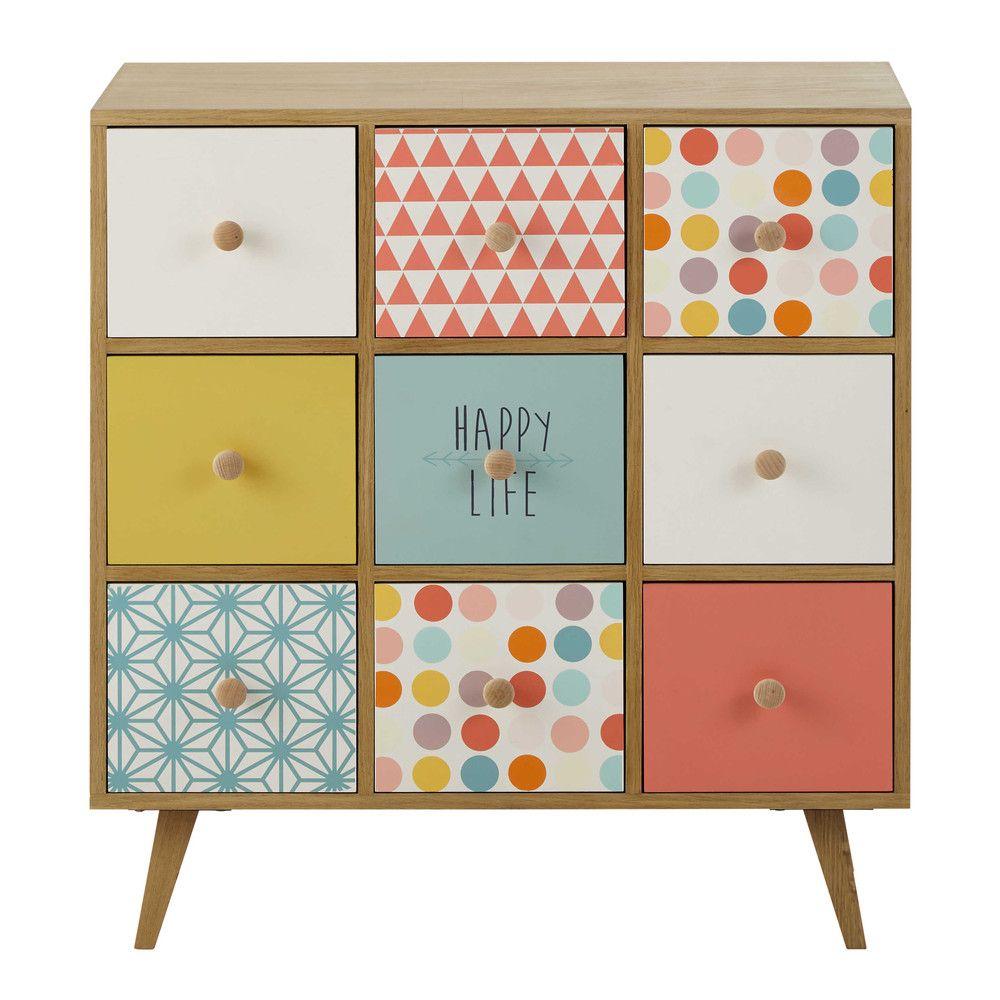 Cajonera de madera multicolor L 78 cm   elisa's room   Pinterest