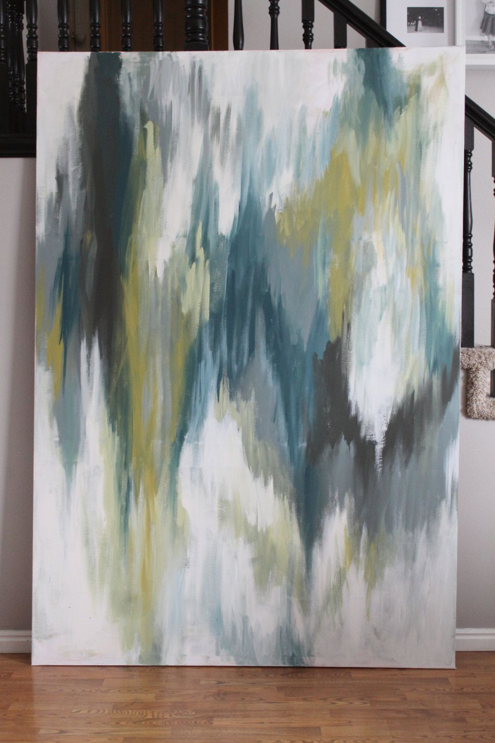 Absolutely Huge--Abstract Painting. Ikat inspired. Green ...