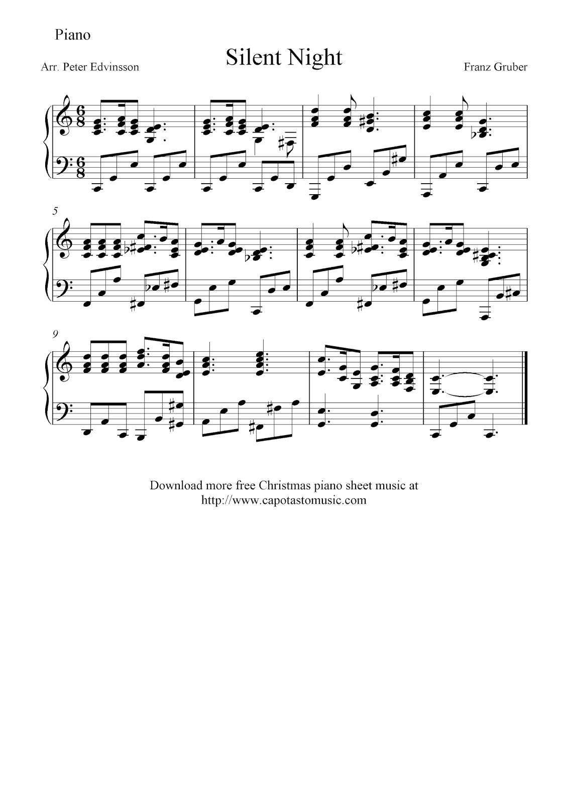 Free Sheet Music Scores: Free intermediate Christmas piano sheet ...