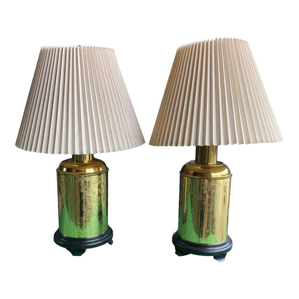 1970s Alsy Stamped Brass Tea Tin Lamps Finials Included A Pair Free Shipping In 2020 Lamp Finial Lamp Brass Lamp