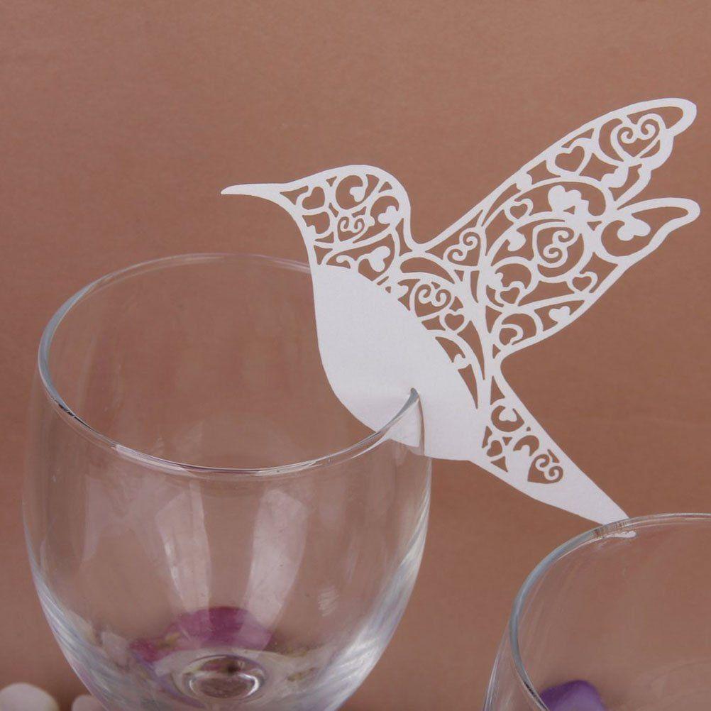 Tinksky Hochzeit Tisch Papier hohlen Vogel Stil Karte Weinglas ...