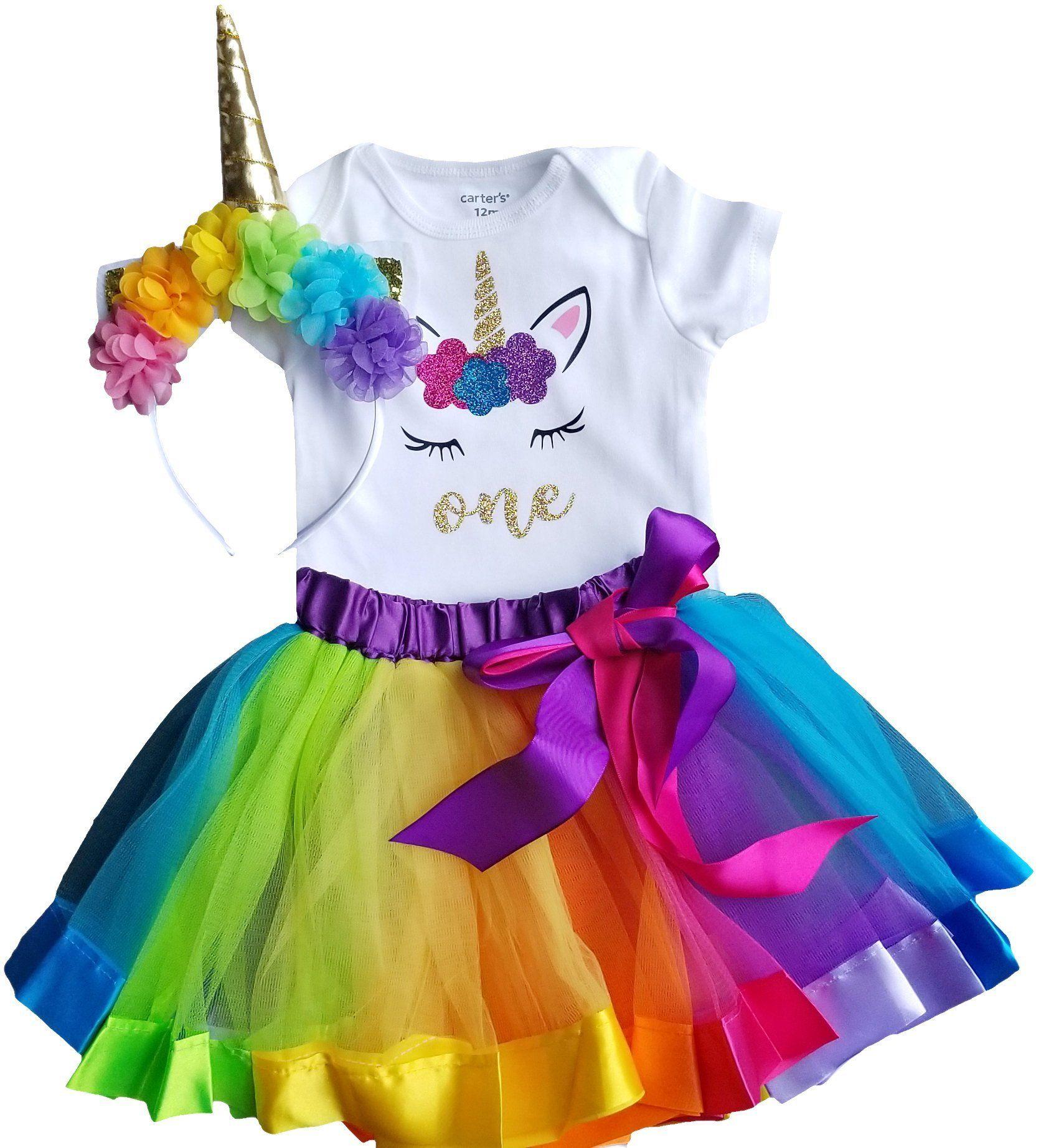 1st birthday outfit baby girl tutu unicorn to view