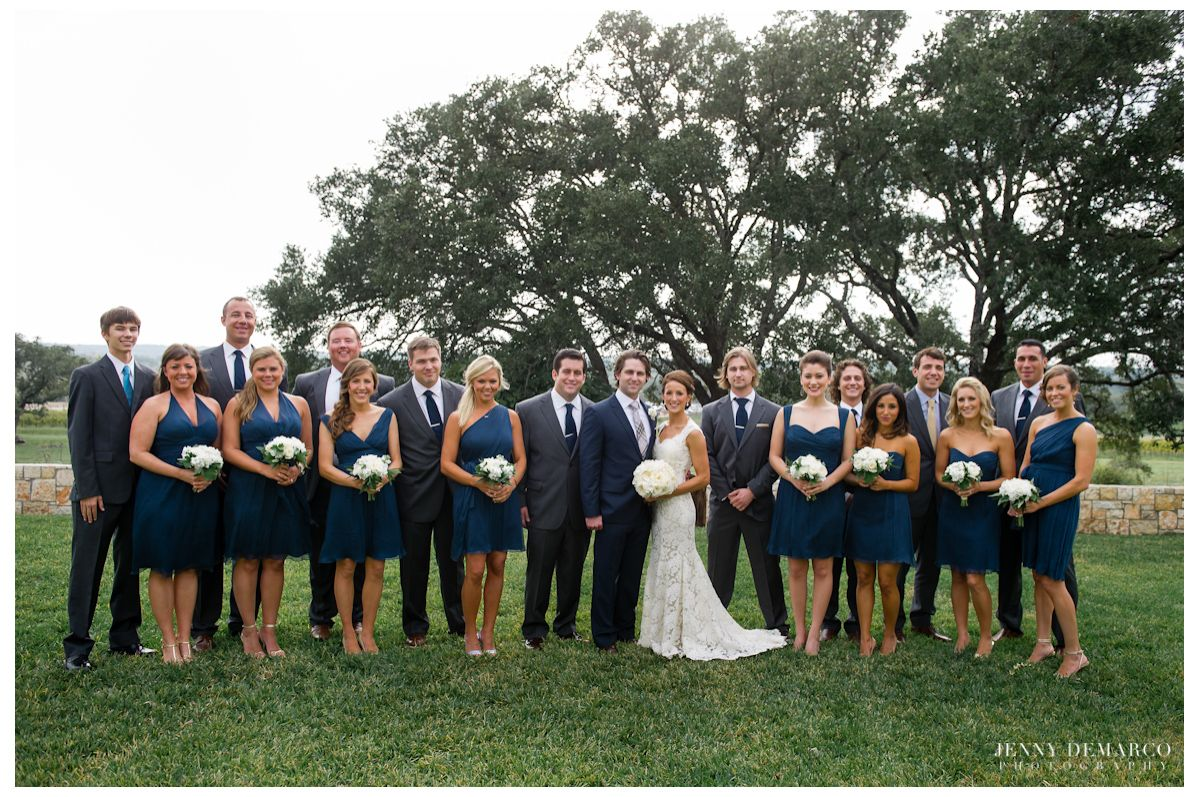 bridal party navy and gray Bridesmaids