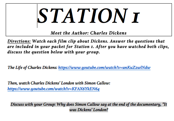 To build historical context and an understanding of Dickens, use these 5 stations incorporating primary and secondary sources about the Industrial Revolution, Dickens' background, and Dickens' writing.