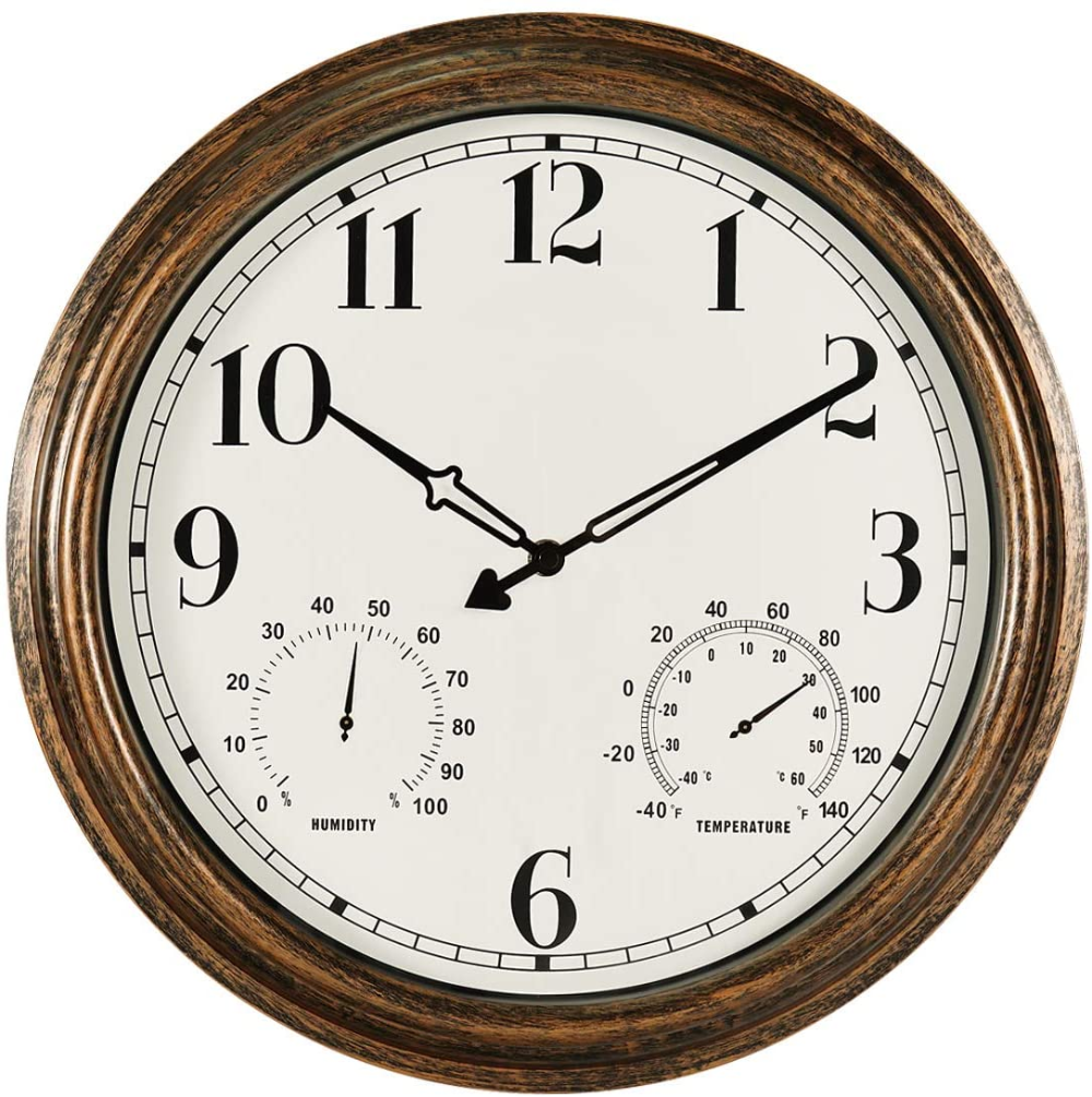 Amazonsmile Secreshow 16 Inch Large Indoor Outdoor Wall Clock Waterproof Non Ticking Clock In 2020 Large Outdoor Wall Clock Outdoor Wall Clocks Waterproof Wall Clock