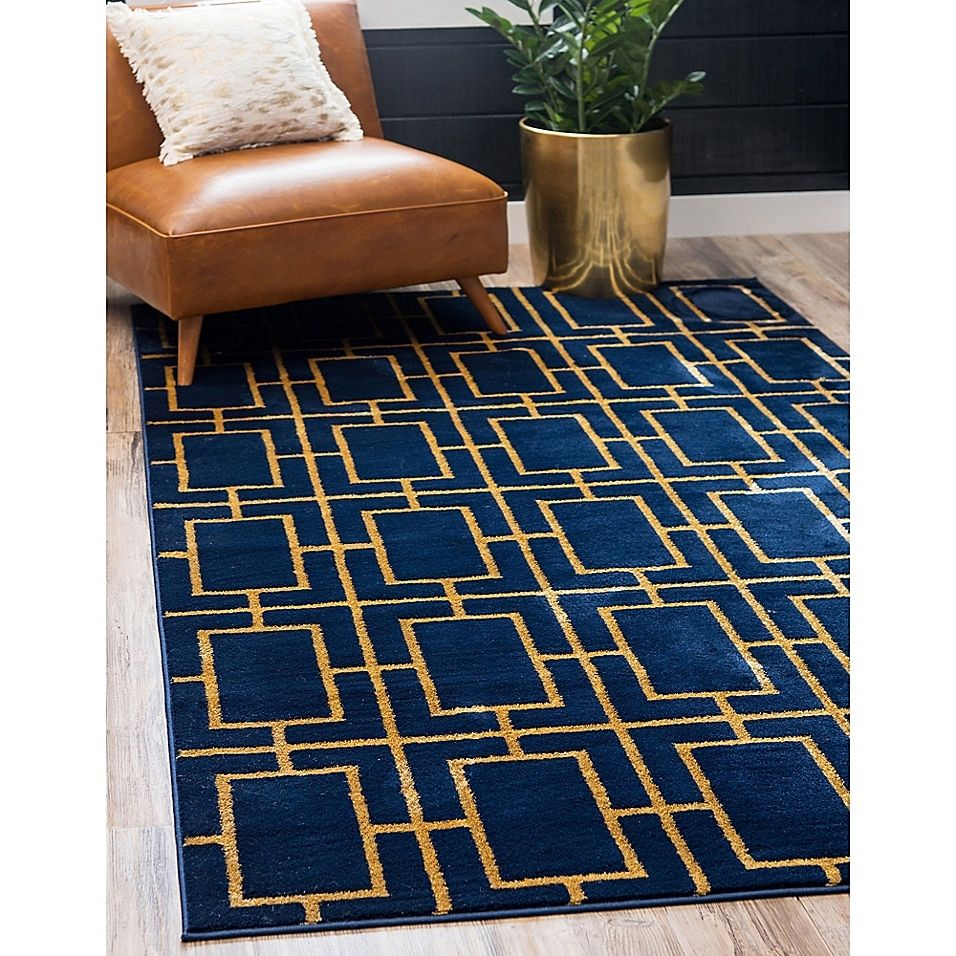 Marilyn Monroe Deco Glam Area Rug In Navy Gold Bed Bath Beyond Blue And Gold Living Room Blue And Gold Bedroom Navy Blue Living Room