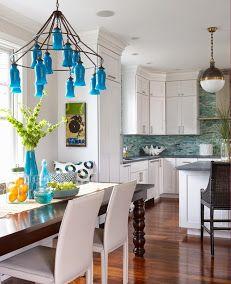 blue bottle chandelier