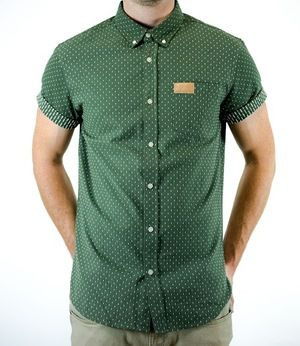 f07e1522ae0 BEELINE in Olive Green- Men's short sleeve button up shirt. Bunky ...