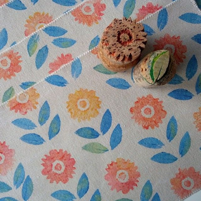A new pattern made with these hand carved corks: Bloom! #cork #blockprint #textiles #fabricpaint www.forest-sea.com