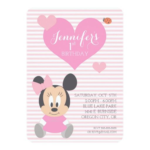 Minnie Mouse First Birthday Card Minnie Mouse Mice And Disney