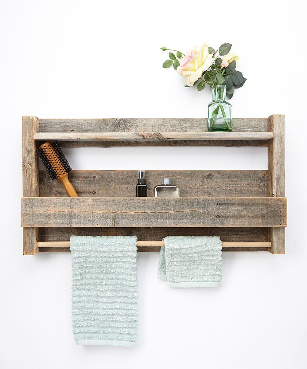 delhutson designs barnwood towel rack shelf zulily wood projects bathroom wood shelves. Black Bedroom Furniture Sets. Home Design Ideas
