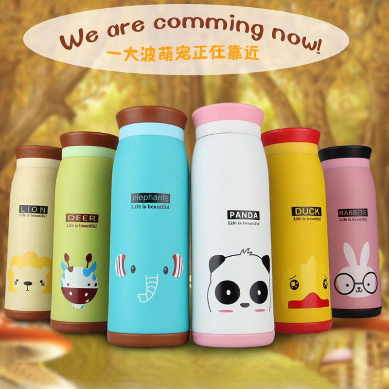 New 450ml Thermos Mug Insulated Tumbler Travel Cups Stainless Steel Thermo Vacuum Cup for Office Lovely Animal Pattern