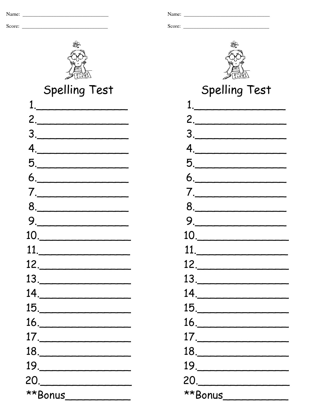 29 Images Of Spelling Words Test Template 9 In