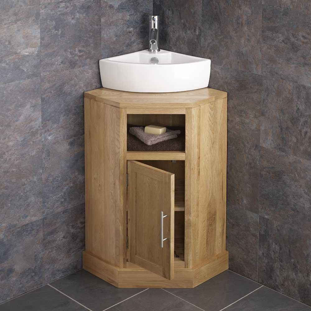 Cube Space Saving Single Door Corner Oak Cabinet With Olbia Basin Corner Vanity Unit Corner Sink Bathroom Oak Bathroom Furniture