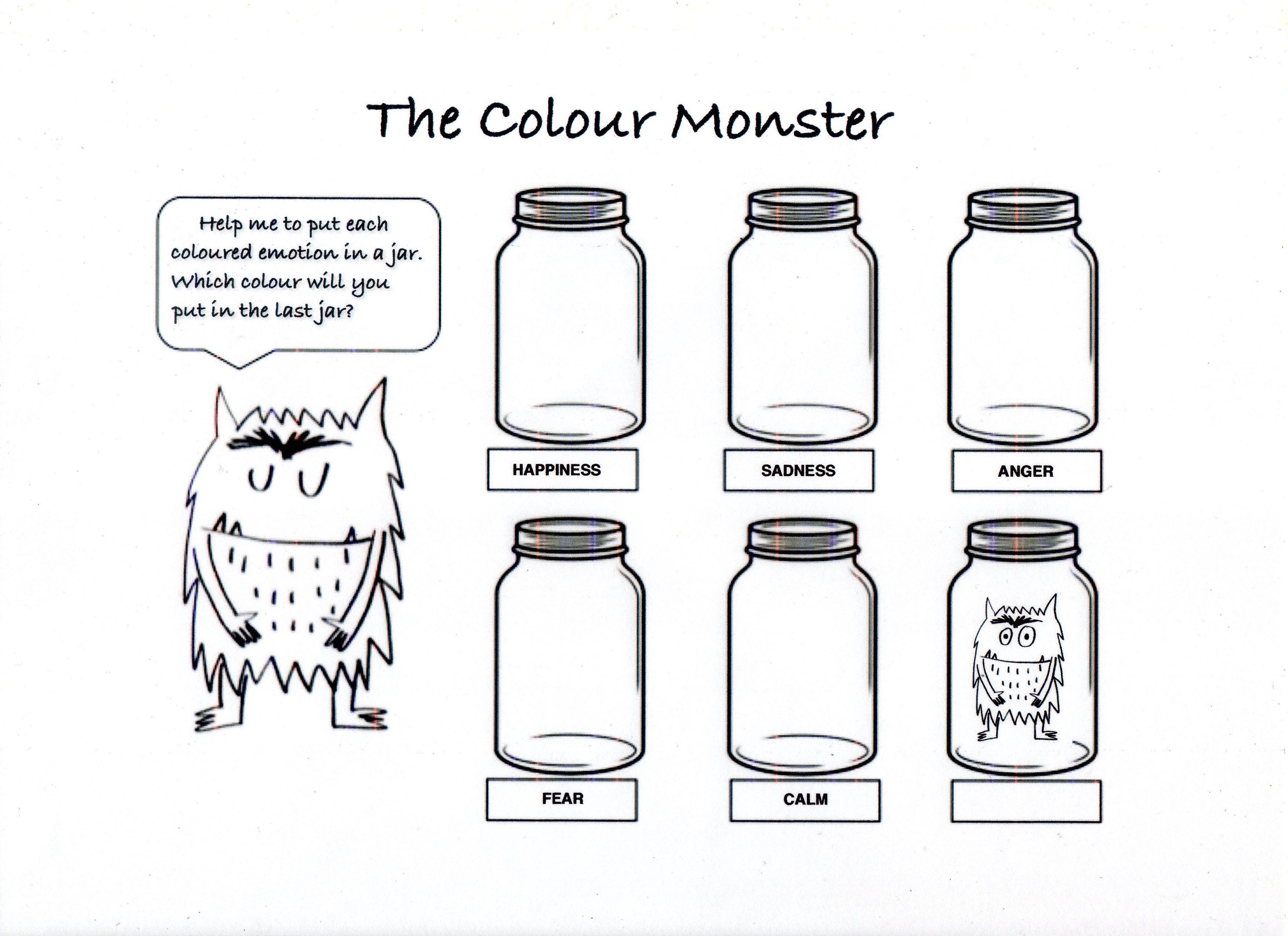 The Colour Monster Fun Printable Colouring Sheet With Activity Monster Activities Monster Emotions Preschool