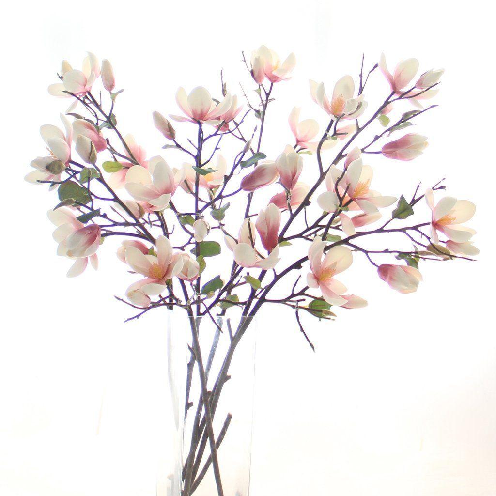 Luxury Artificial Fake Silk Flowers Pink Tall Magnolia Branch Lifelike Realistic Faux Flowers Magnolia Branch Artificial Plants Decor Fake Flower Arrangements