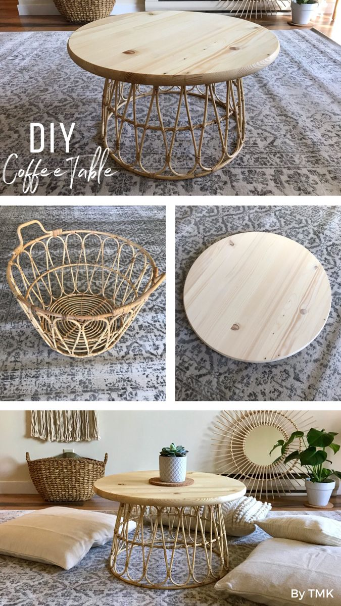 Diy Basket Coffee Table Janapese Inspired Boho Natural Style By Tomoko Diy Crafts For Home Decor Table Decor Living Room Round Coffee Table Decor [ 1200 x 675 Pixel ]