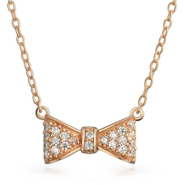 Bling Jewelry Christmas Gifts Rose Gold Plated 925 Silver Cz Bow... ($21) ❤ liked on Polyvore featuring jewelry, necklaces, pink, silver layered necklace, tie necklace, christmas necklace, cz necklace and pendant necklace