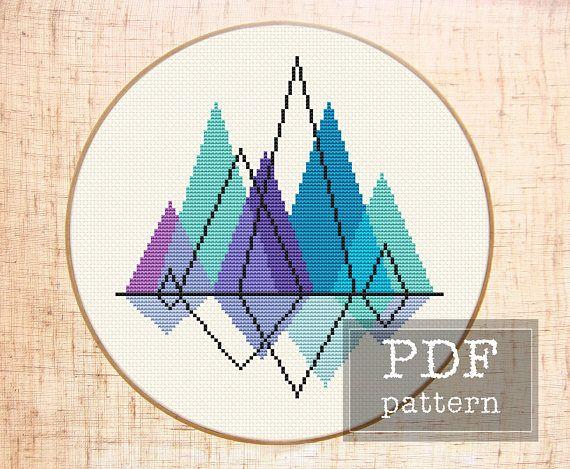 Mountain cross stitch pattern Mountain embroidery Geometric cross