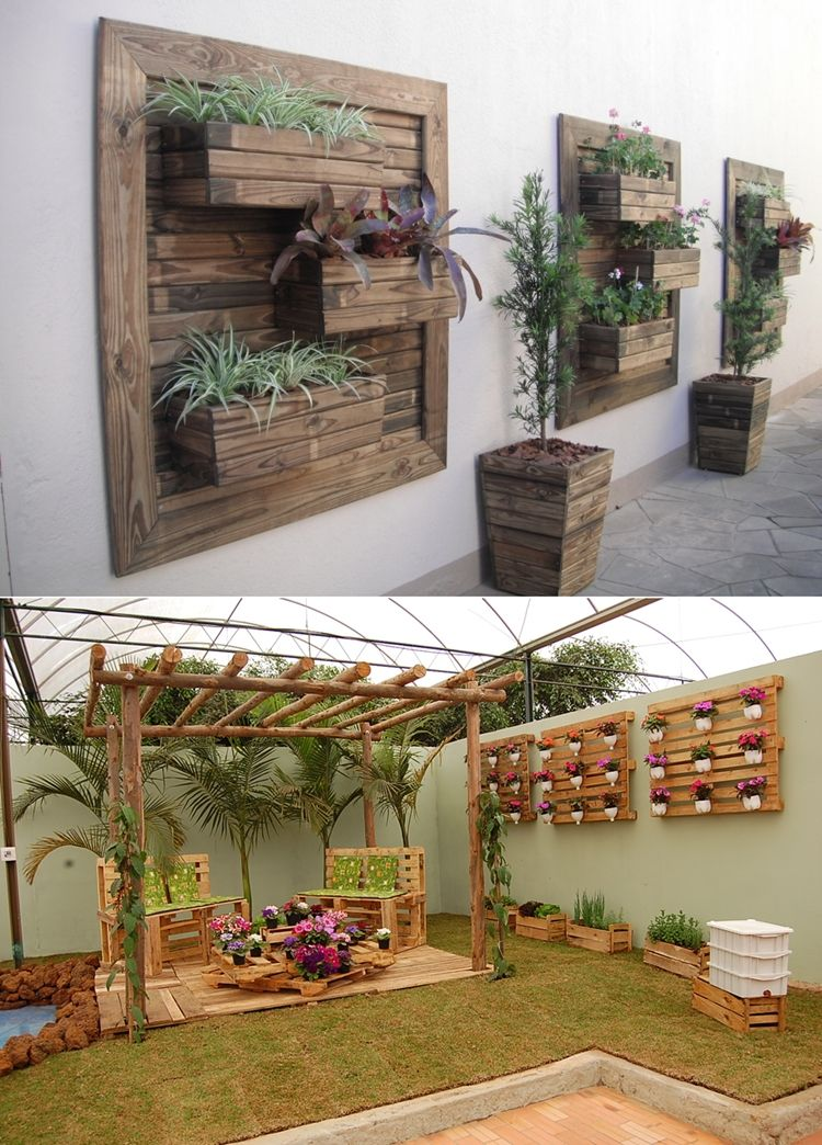 Outdoor wall garden for hole in pantry