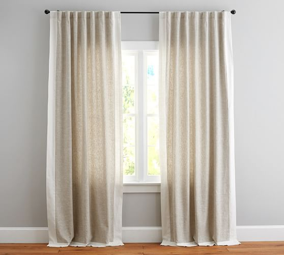 Guest Room Emery Frame Border Linen Drape Flax Ivory Pottery Barn Linen Drapes Beige Curtains Living Room Curtains