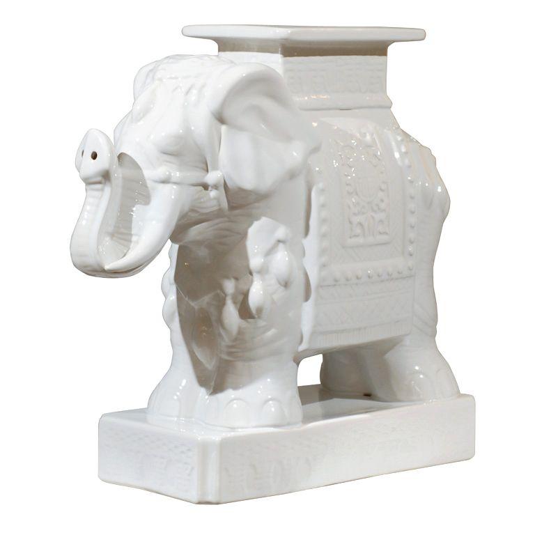 Vintage Porcelain Elephant Side Table