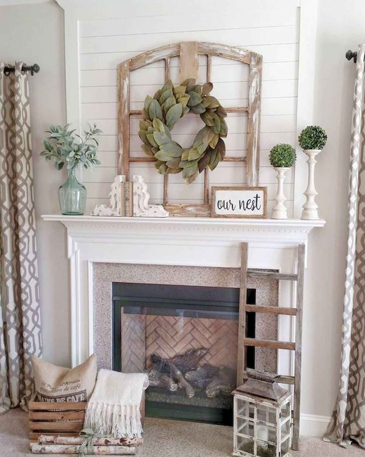 50 Beautiful Spring Mantel Decorating Ideas Wall Decor Living Room Rustic Rustic Living Room Farm House Living Room
