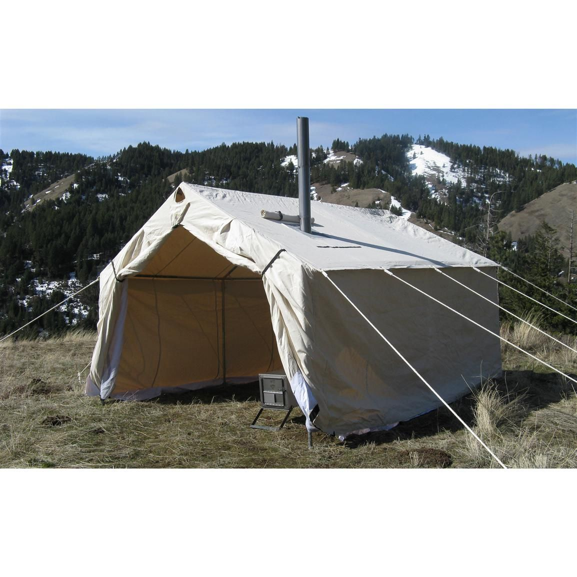 Magnum 10 X 12 X 5 H Canvas Wall Tent 143151 Outfitter Canvas Tents At Sportsman S Guide Canvas Wall Tent Wall Tent Tent