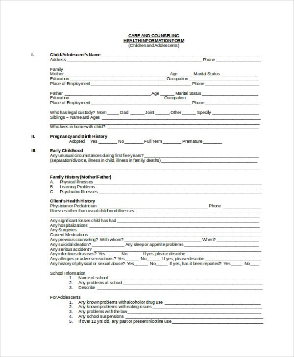 Sample Health History Template 9 Free Documents Download In Pdf