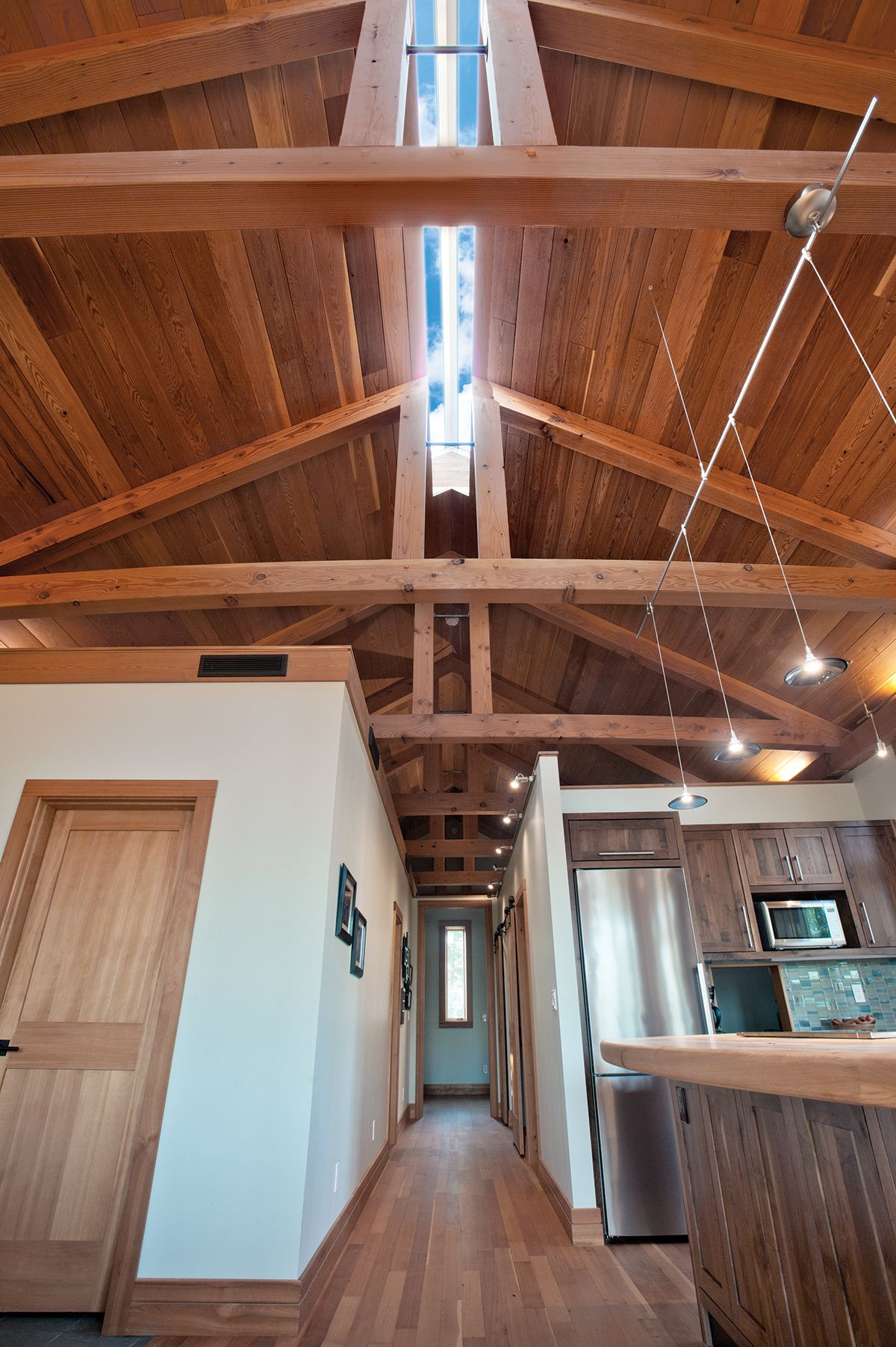 Timber frame with ridge skylight in Dayton, Oregon  Home and