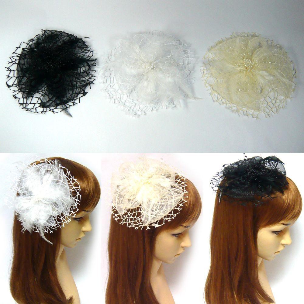 Ladies Hair Feather and Mesh Flower Fascinator Women/'s Designer Accessories