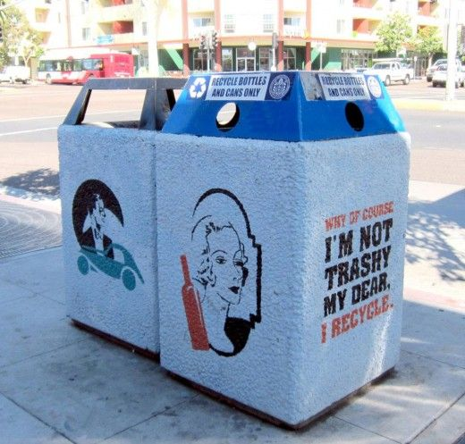 ingenious home recycling bin ideas. I m not trashy  recycle by San Diego State University graphics students Recycling Bins nice art clever words Recycle Bin Re design Inspiration