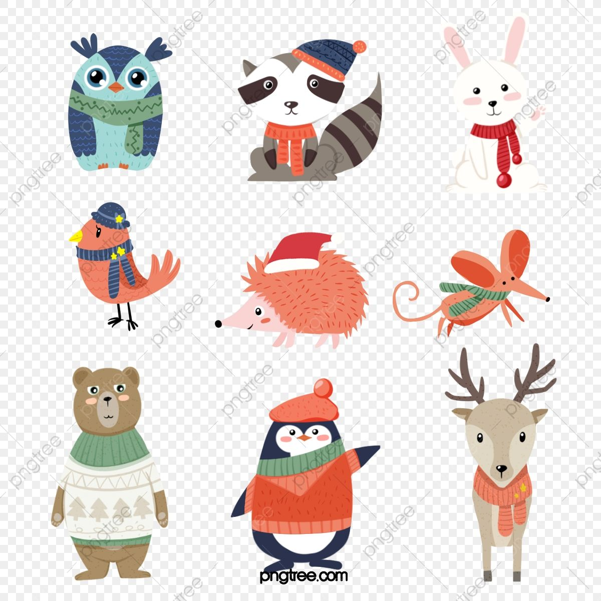 Cute Little Animals In Winter Animal Clipart Animal Cartoon Style Png Transparent Clipart Image And Psd File For Free Download Winter Animals Cute Little Animals Cartoon Styles