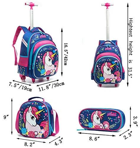 Meetbelify Girls Unicorn Rolling Backpacks Kids Backpack Rolling