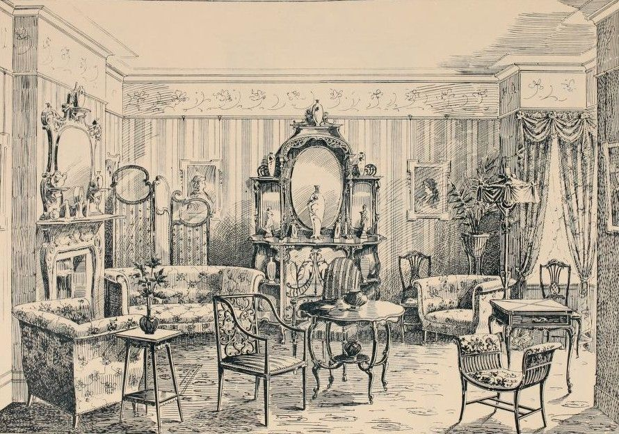 Image result for victorian illustration drawing room