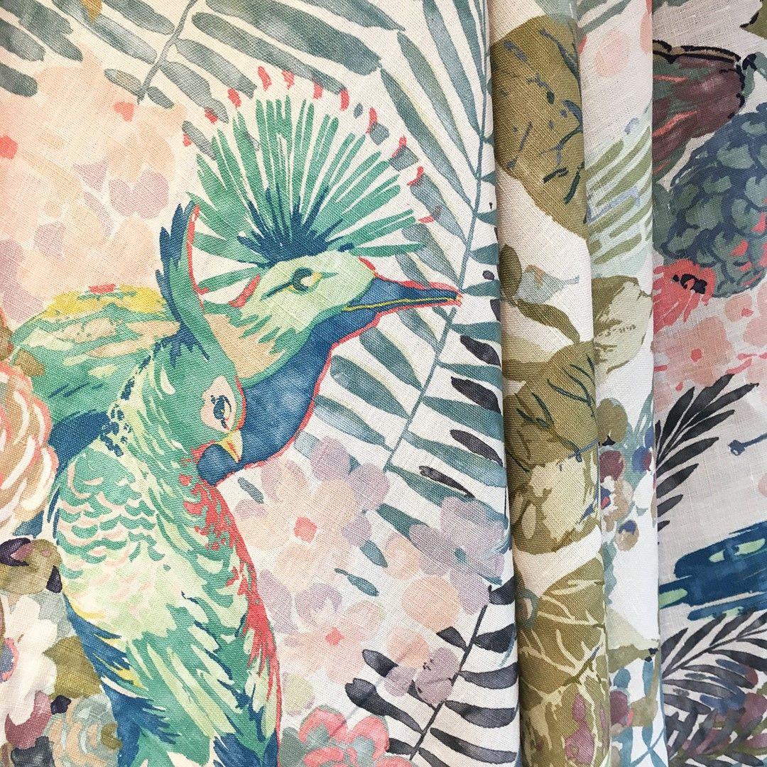 Rainforest Rabble By Linwood Tropical Pastel Pastelinteriors Linwoodfabric Fabric Wallpaper Linwood Fabrics Upholstery Fabric