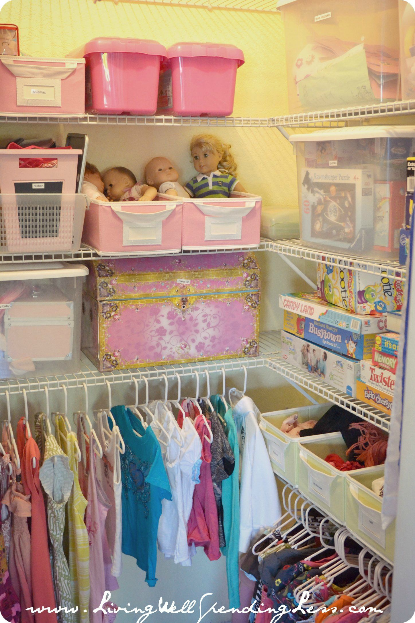Beau Organized Kids Closet {from How I Get My Kids To Clean Their Room Via  LivingWellSpendingLess.com} #kids #organizing #cleaning