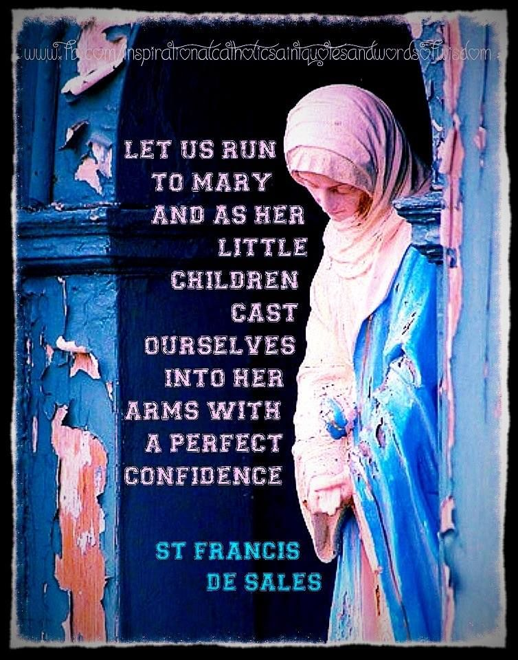 """Let us run to Mary, and, as her little children, cast ourselves into her arms with a perfect confidence."" ~ St. Francis de Sales"