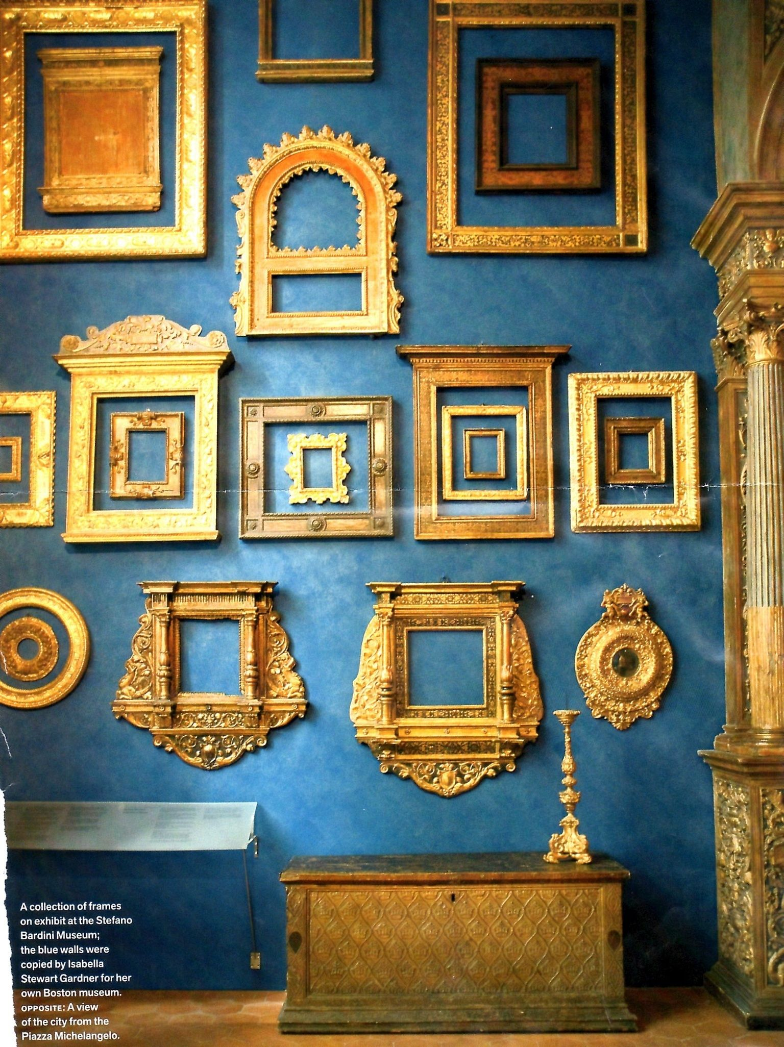 A Collection Of Frames On Exhibit At The Stefano Bardini