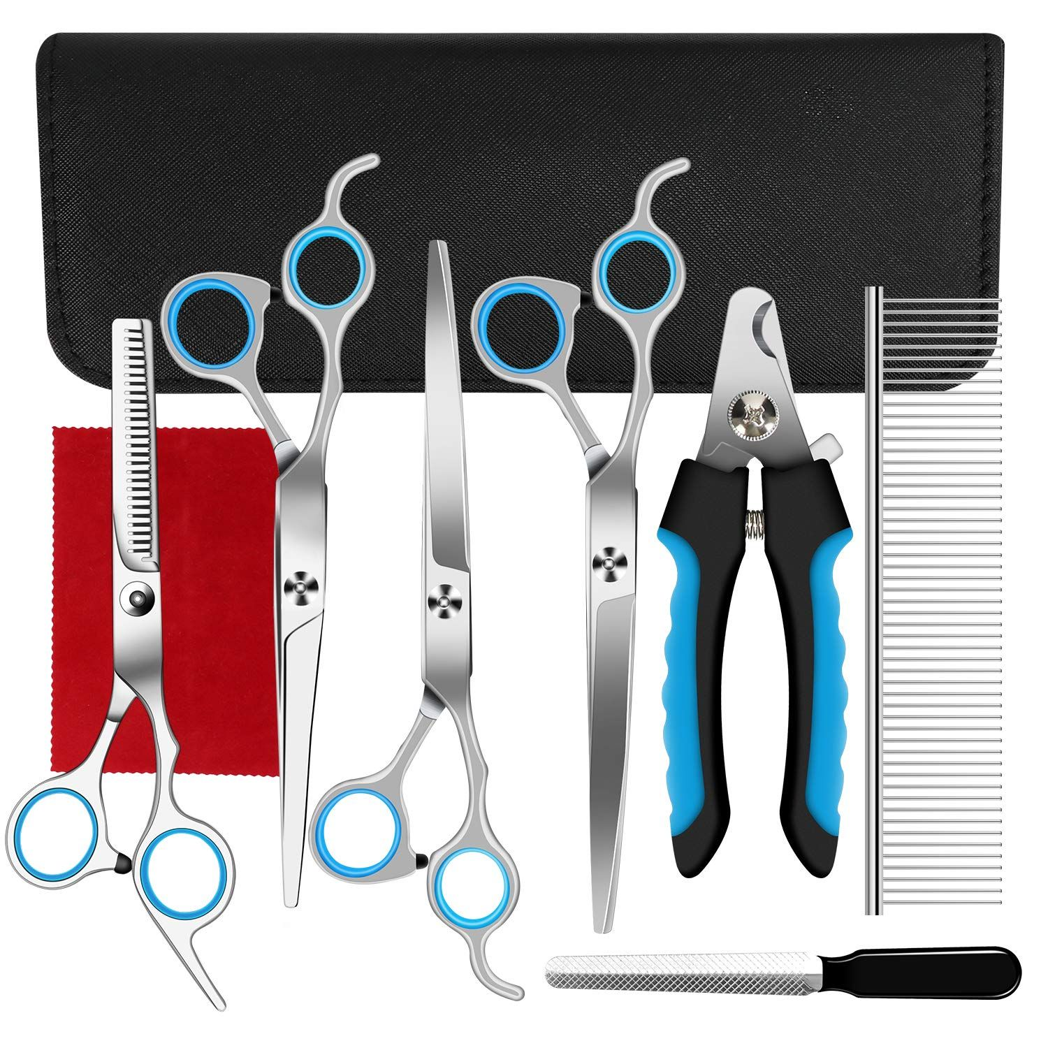 Ferbon 12 Pcs Dog Grooming Scissors Kits, 12 inches Pet Stainless