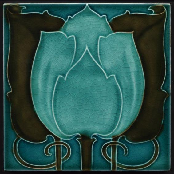 TH2915 Fabulous Voysey Pilkington Antique Art Nouveau Majolica Tile c.1905 #ArtsCrafts