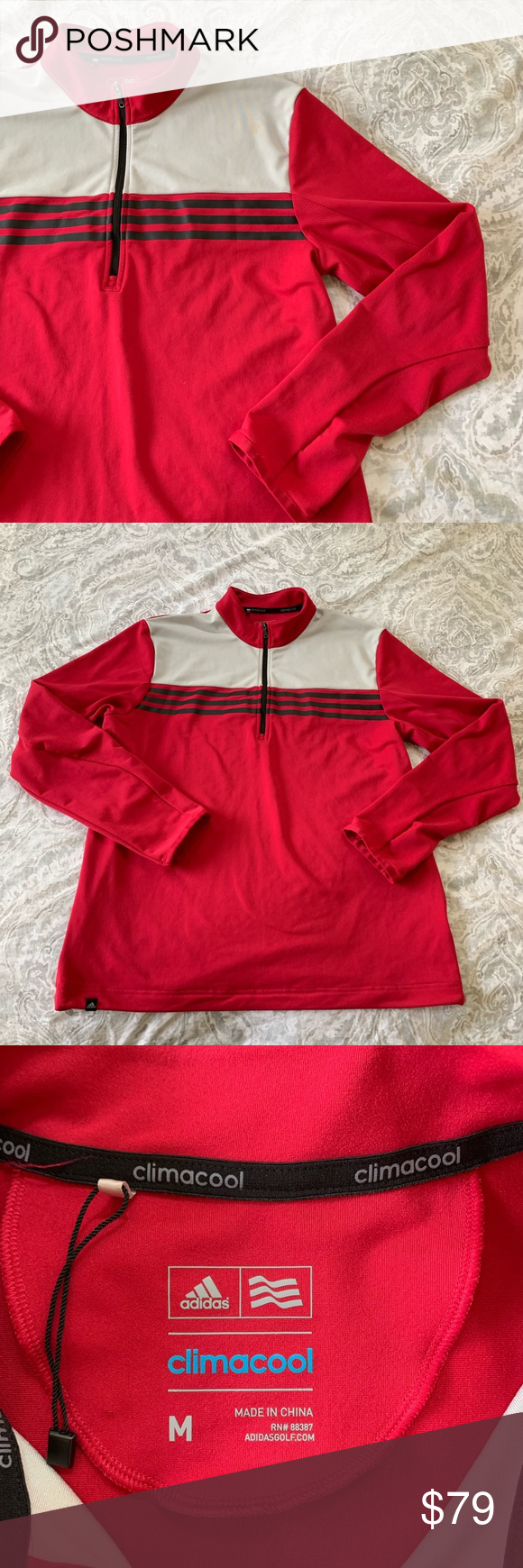 save off 2a77f 26228 NWOT Adidas Climacool Pullover Jacket Red Medium NWOT Red ...