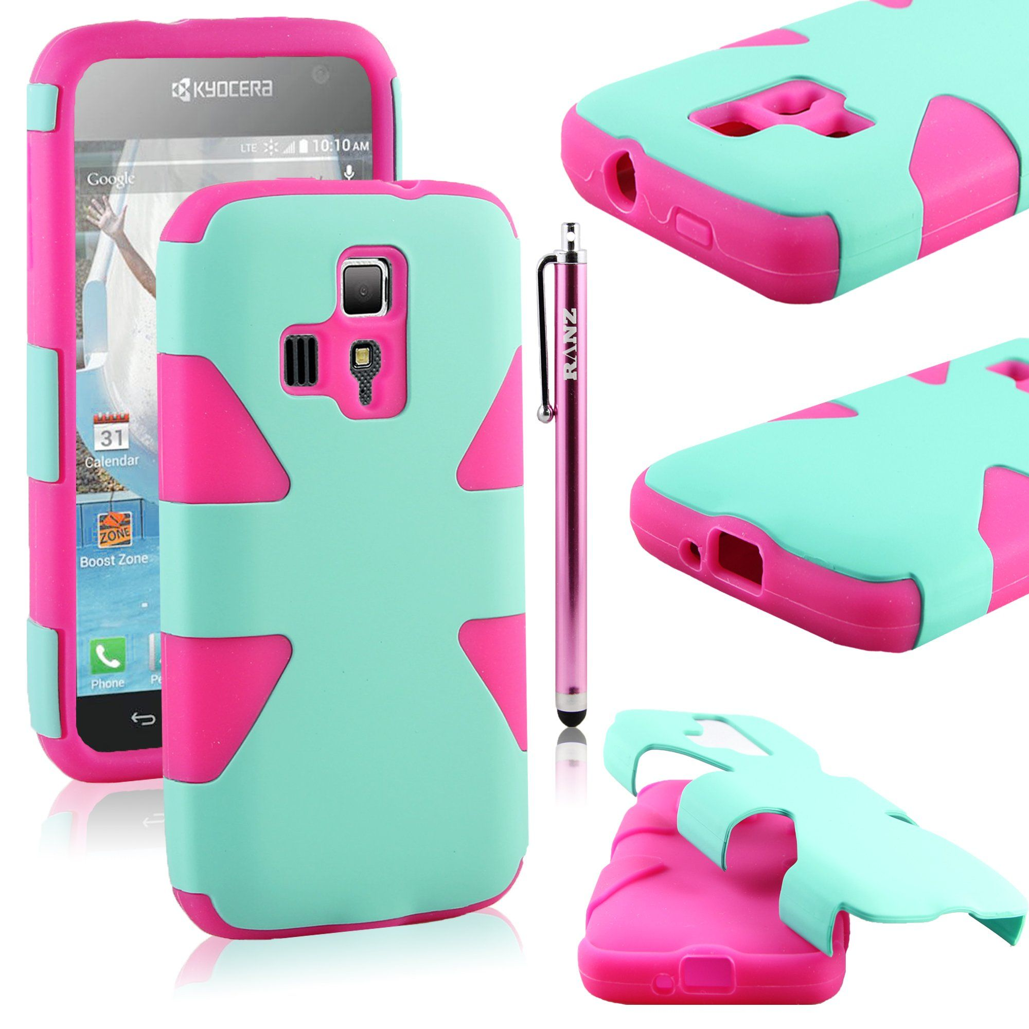 RANZ® Hot Pink/Turquoise Mint Heavy Duty Hybrid Dual Layer Dynamic