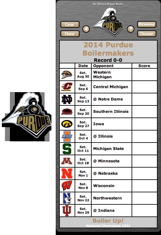 Free 2014 Purdue Boilermakers Football Schedule Widget for