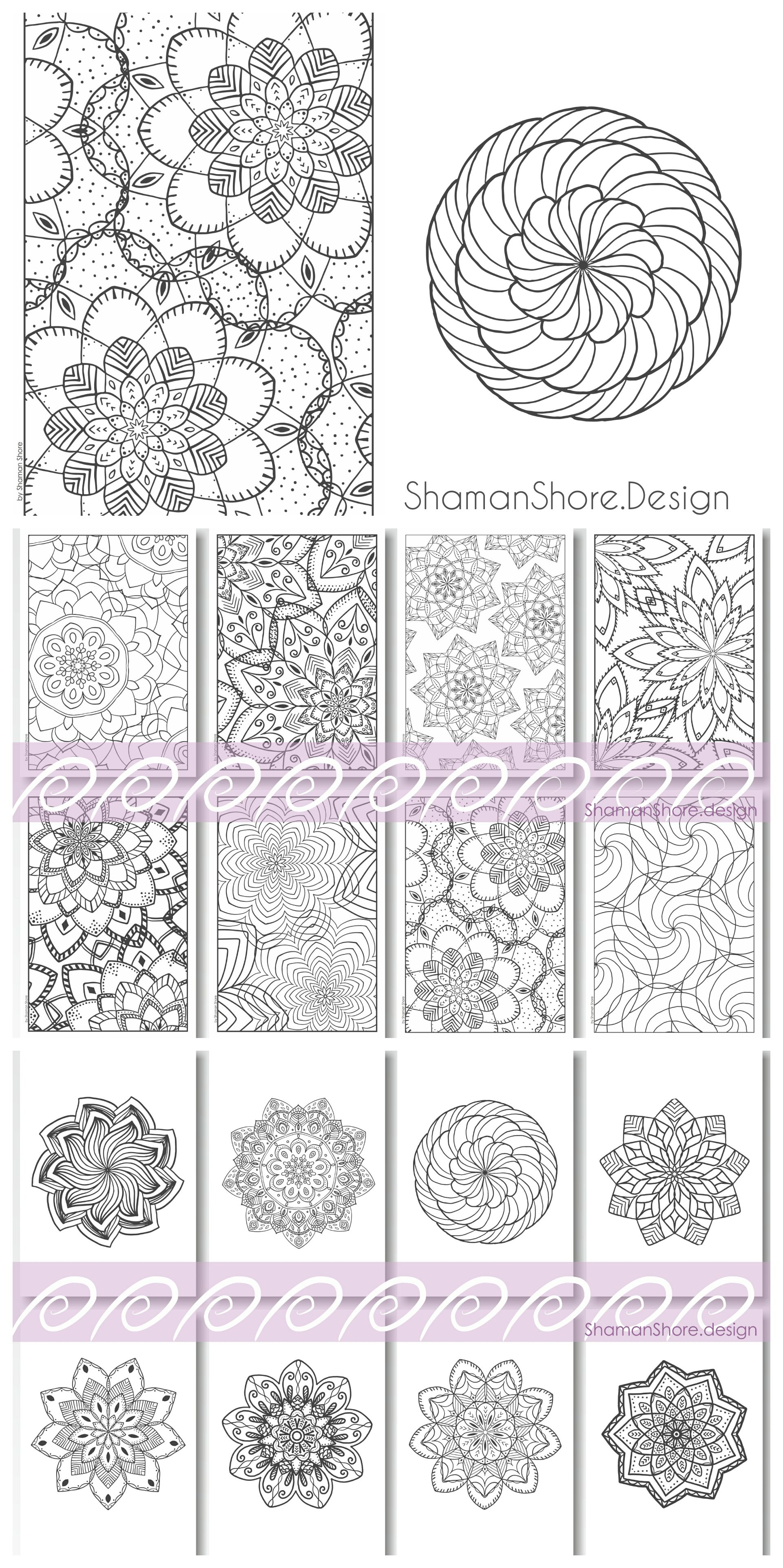 Mandala Coloring Pages For Grown Ups Printable Advanced Book On Etsy Digital Download Difficult Adults Anti Stress