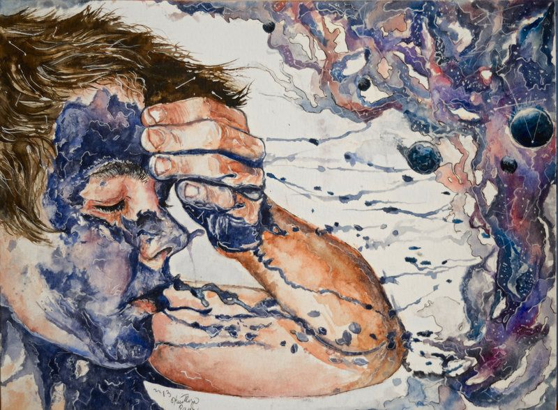 """artmonia: Exhale by The-Inner-Observer """"He exhaled his darkness like the constellations…"""" Watercolor and ink on 140lb watercolor paper DA Tumblr"""